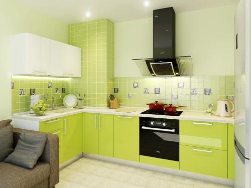 кухня эмаль с салатовыми фасадами