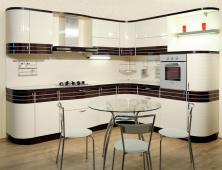 Кухня эмаль Оливия Line с шпонированными вставками